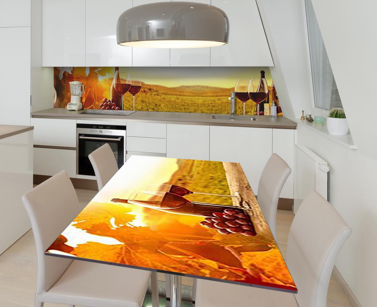 Наклейка 3Д виниловая на стол Zatarga «Сомелье из Бордо» 600х1200 мм для домов, квартир, столов, кофейн, кафе