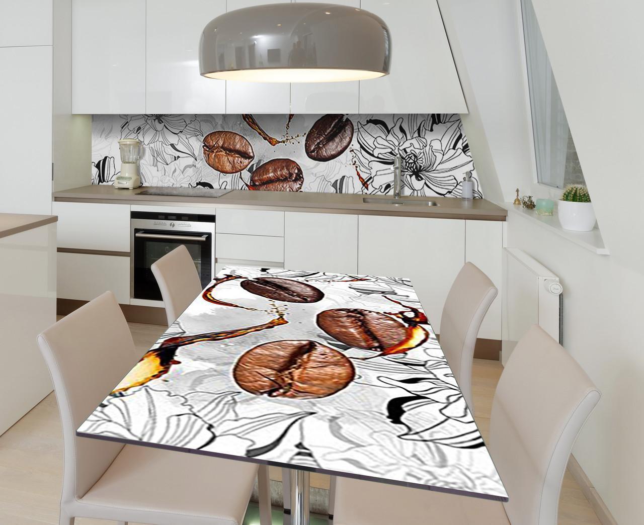 Наклейка 3Д виниловая на стол Zatarga «Три зерна бодрости» 650х1200 мм для домов, квартир, столов, кофейн,