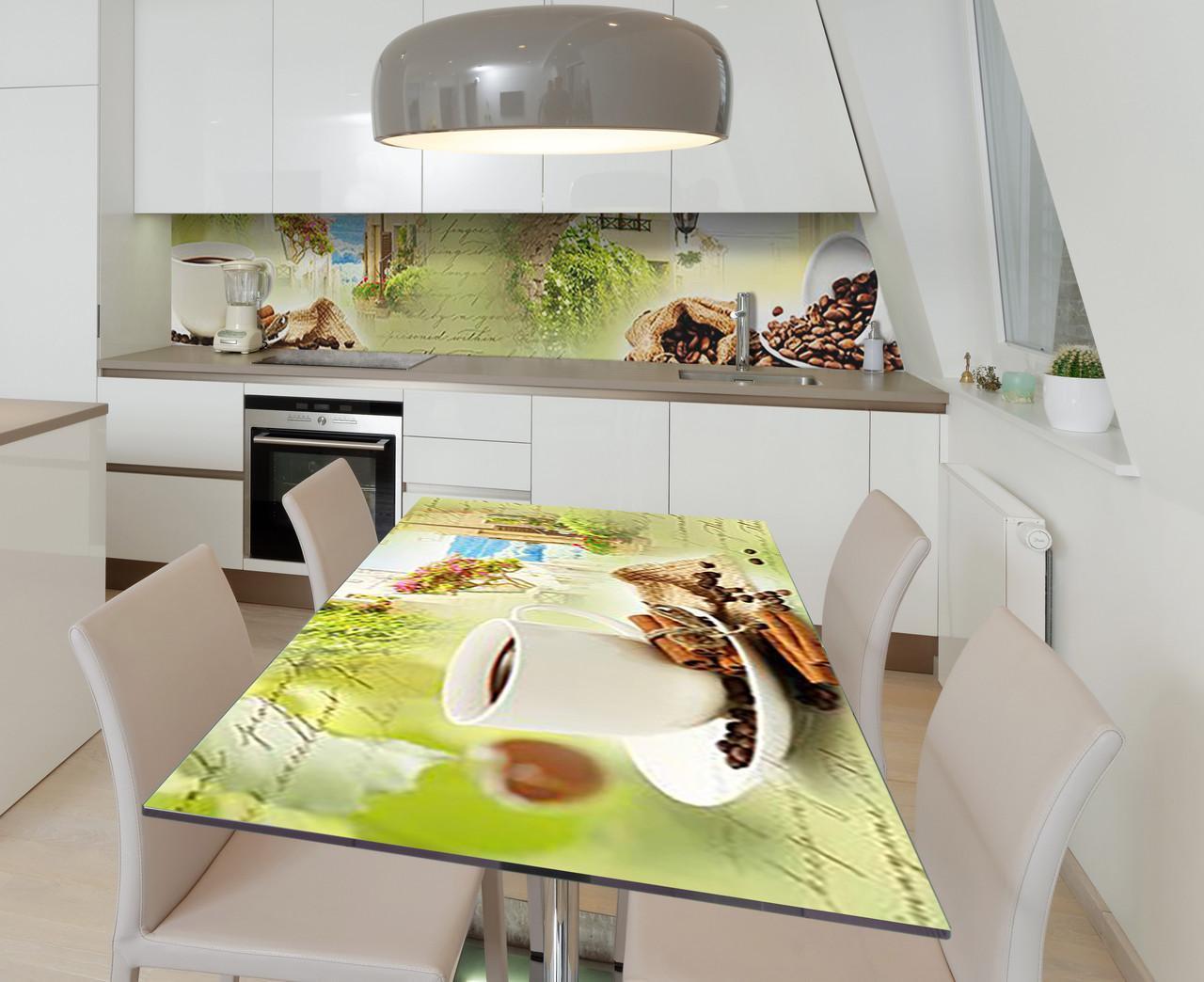Наклейка 3Д виниловая на стол Zatarga «Поэма о кофе» 600х1200 мм для домов, квартир, столов, кофейн, кафе