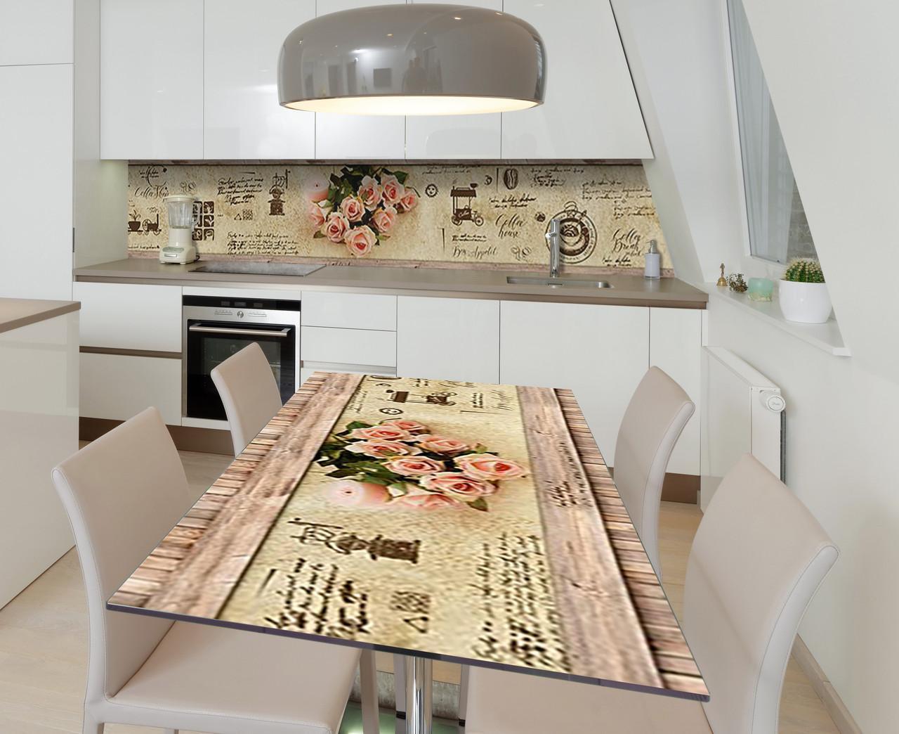 Наклейка 3Д виниловая на стол Zatarga «Хрупкость кремовой розы» 650х1200 мм для домов, квартир, столов,