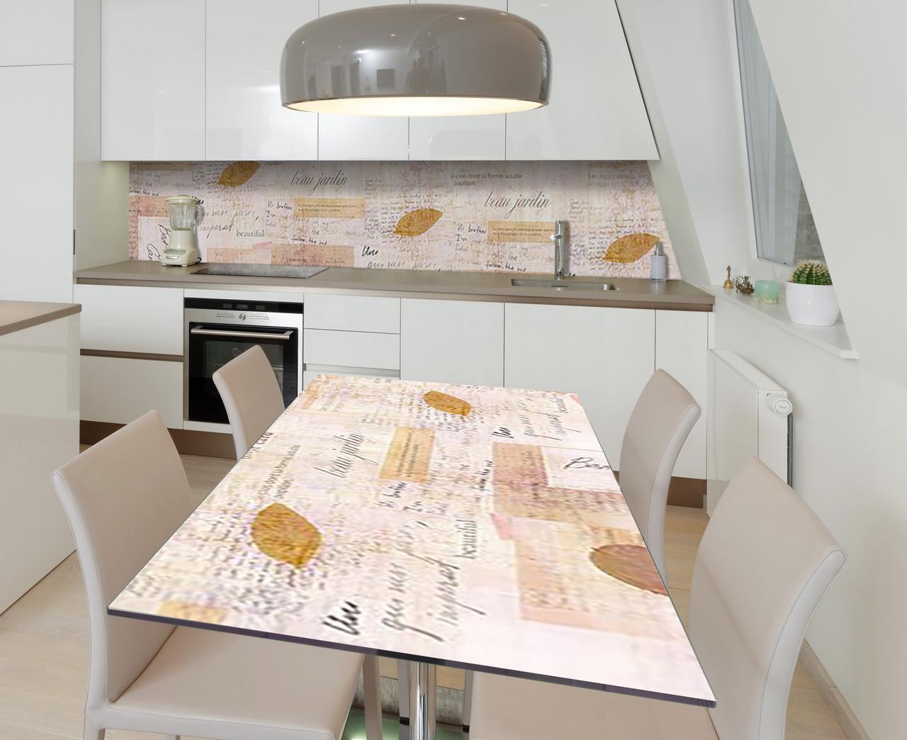 Наклейка 3Д виниловая на стол Zatarga «Французская газета» 650х1200 мм для домов, квартир, столов, кофейн,