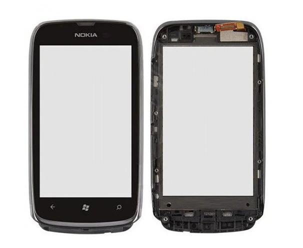 Сенсор (Тачскрін) для Nokia Lumia 610 ( Чорний з срібним рамкою) Оригінал Китай