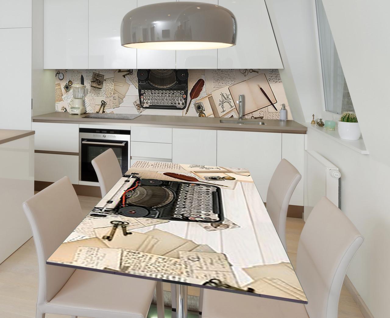 Наклейка 3Д виниловая на стол Zatarga «Тайны писателя» 600х1200 мм для домов, квартир, столов, кофейн, кафе
