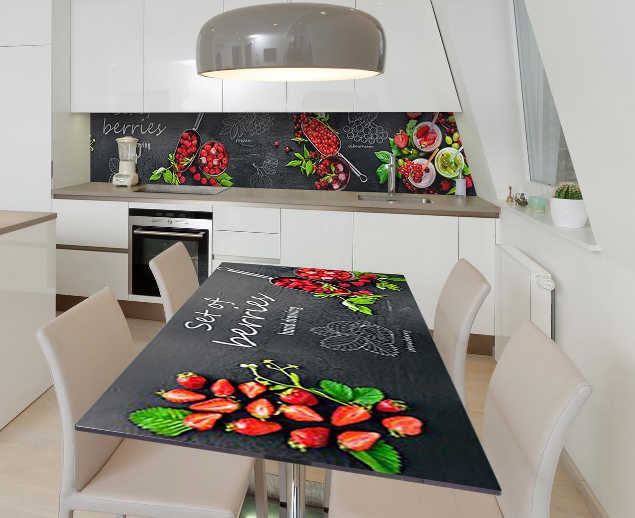 Наклейка 3Д виниловая на стол Zatarga «Отборные плоды» 650х1200 мм для домов, квартир, столов, кофейн, кафе