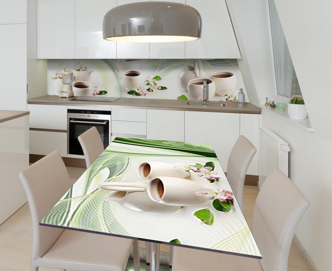 Наклейка 3Д виниловая на стол Zatarga «Чай с жасмином» 600х1200 мм для домов, квартир, столов, кофейн, кафе