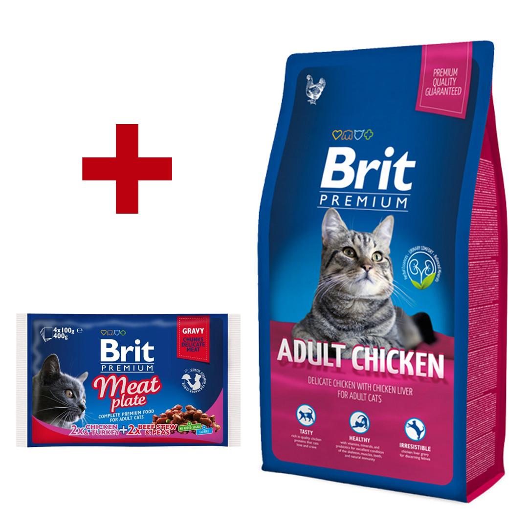 Brit Premium Cat Adult Chicken 1,5кг корм для кошек с курицей + паучи 4*100г