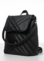 Стильный женский черный рюкзак - сумка городской, повседневный эко-кожа   новинка 2021