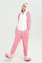 Кигуруми хелоу китти в горошек (пижама, костюм детский, женский, мужской комбинезон)
