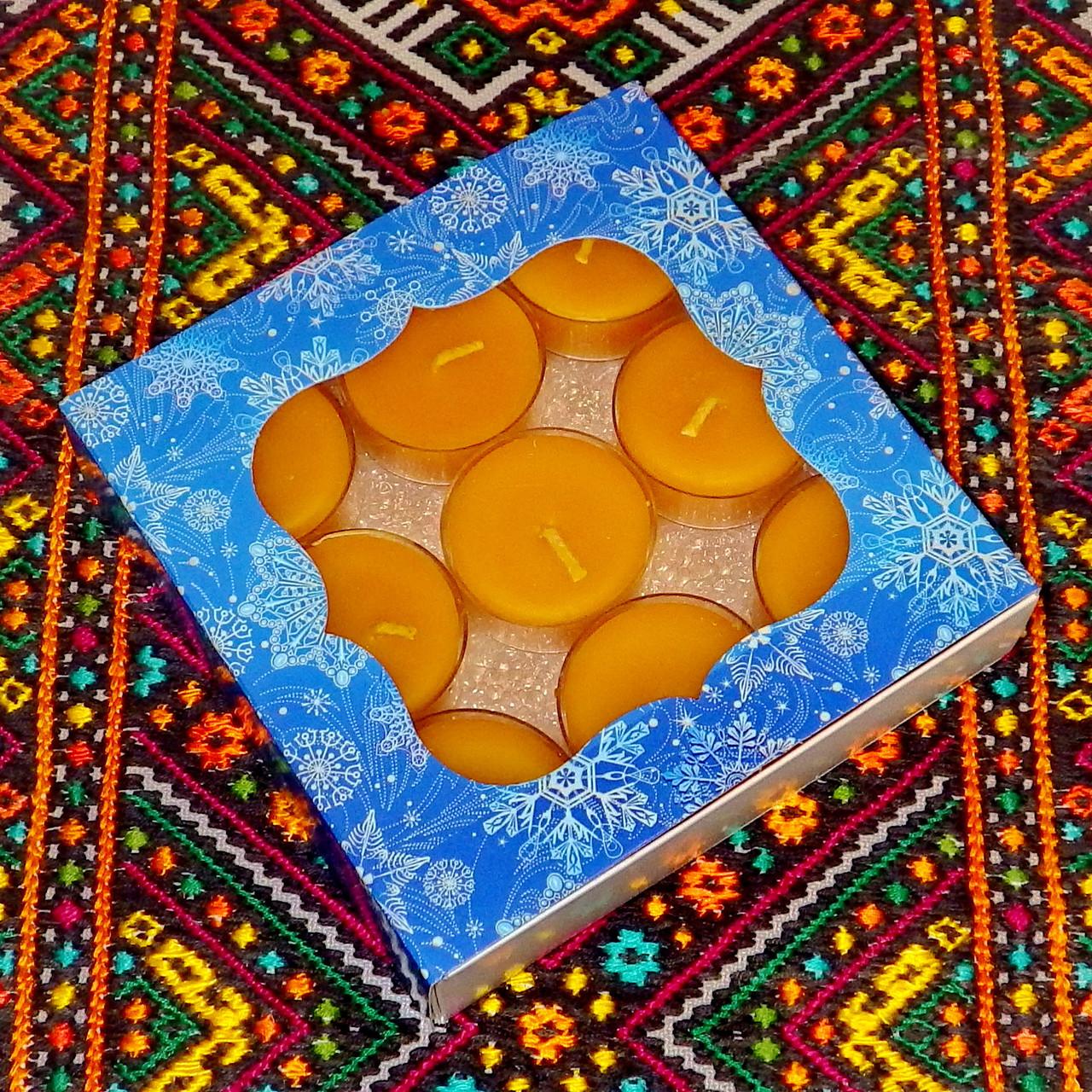 Подарочный набор круглых восковых чайных свечей 15г (9шт.) в коробке Синий Снег