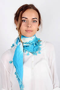 Платок FAMO -косынка Селия голубой (S340) 135*65 #L/A