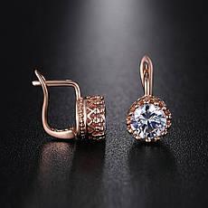 Маленькі класичні жіночі сережки з камінням елітна біжутерія позолота 18К, фото 2