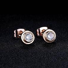 Маленькі жіночі сережки гвоздики пуссети з камінчиками класика позолота 18К, фото 3
