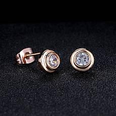 Маленькі жіночі сережки гвоздики пуссети з камінчиками класика позолота 18К, фото 2