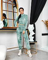 Женский велюровый костюм штаны и укороченный топ, фото 1