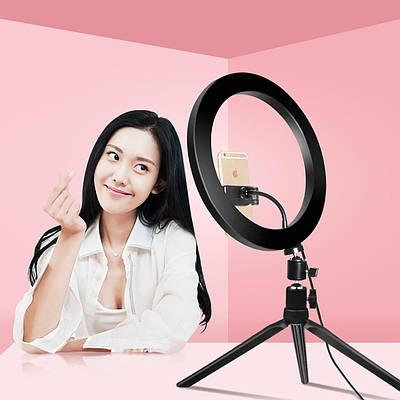 Кольцевая светодиодная LED лампа Mirror LC-330 33 см с штативом и держателем для телефон Черный