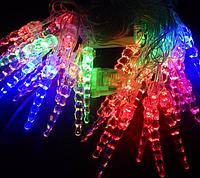 Новогодняя гирлянда, Гирлянда светодиодная Сосульки витые L28 мульти