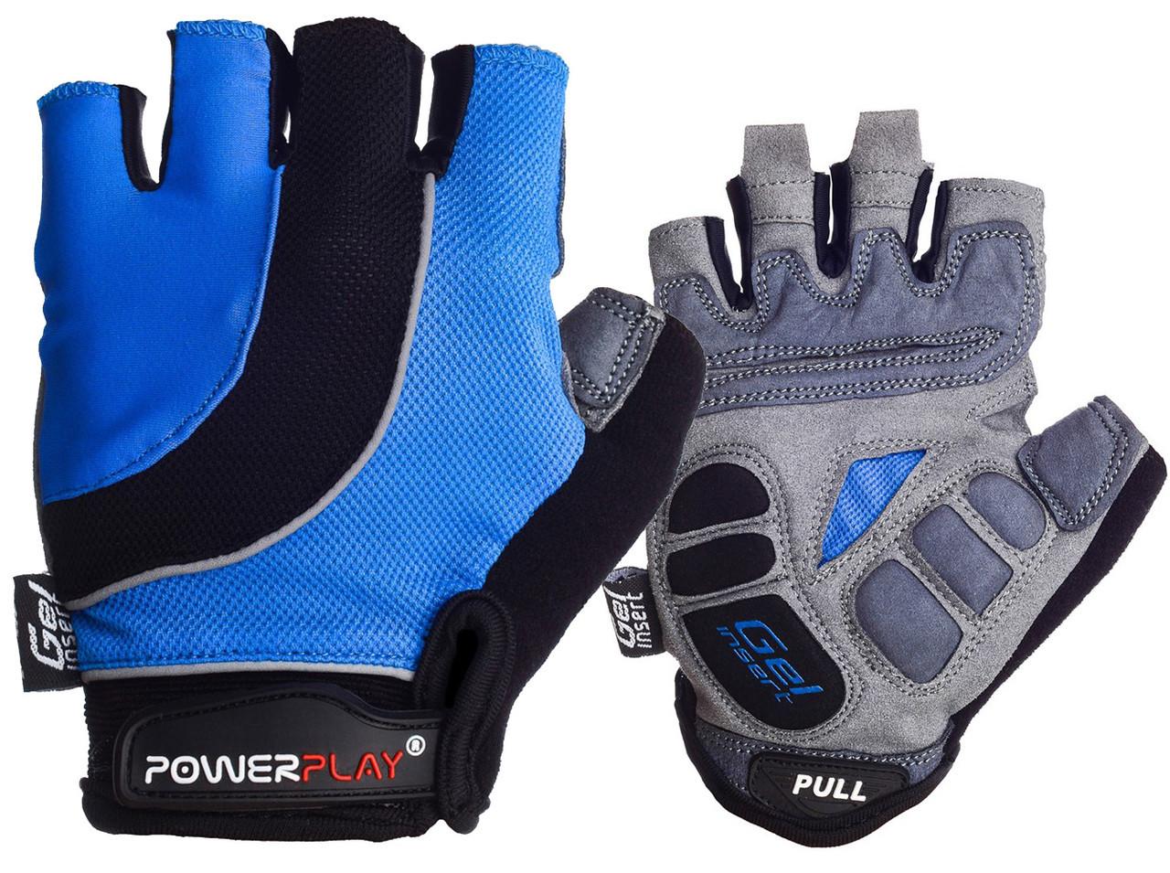 Велорукавички PowerPlay 5037 A L Чорно-блакитні (5037A_L_Blue)