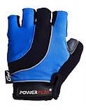 Велорукавички PowerPlay 5037 A L Чорно-блакитні (5037A_L_Blue), фото 2