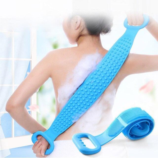 Двостороння силіконова мочалка-масажер для тіла Silicon bath towel. Мочалка в душ.