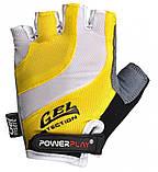 Велорукавички PowerPlay 5034 B L Біло-жовті (5034B_L_Yellow), фото 2