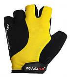 Велорукавички PowerPlay 5028 B L Чорно-жовті (5028B_L_Yellow), фото 2