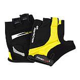 Велорукавички PowerPlay 5028 B L Чорно-жовті (5028B_L_Yellow), фото 4