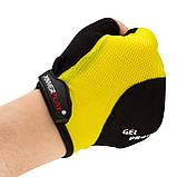 Велорукавички PowerPlay 5028 B L Чорно-жовті (5028B_L_Yellow), фото 5