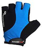Велорукавички PowerPlay 5028 C M Чорно-блакитні (5028D_M_Blue), фото 2