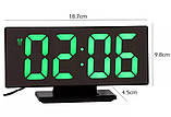 Настольные зеркальные часы UKC DS-3618L с подсветкой Black (3618L-B), фото 2