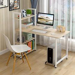 Компьютерный стол  STEP в стиле Loft Стол  для компьютера письменный с полками Лофт БЕЛЫЙ