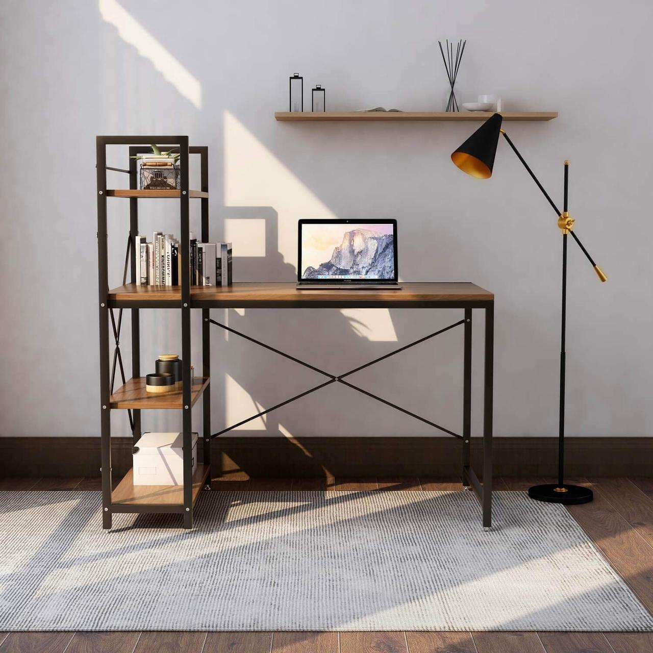 Комп'ютерний стіл STEP в стилі Loft Стіл для комп'ютера письмовий з полицею Лофт