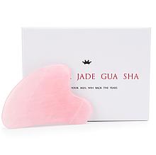 """Скребок сердце гуаша """"Natural Jade Gua Sha"""" из натурального розового кварца (в коробке)"""