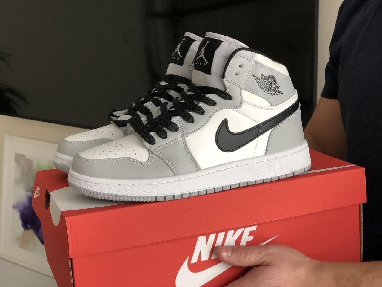 Кроссовки  в стиле N1k Air Jordan белые с серым   черные 41, 42, 43, 44, 45, 46