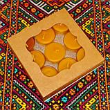Подарочный набор круглых восковых чайных свечей 15г (9шт.) в коробке Красное Сердце, фото 4