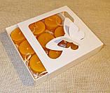 Подарочный набор круглых восковых чайных свечей 15г (9шт.) в коробке Красное Сердце, фото 3