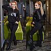 Р 50-64 Прогулочный трикотажный костюм с кожаными вставками Батал 23453
