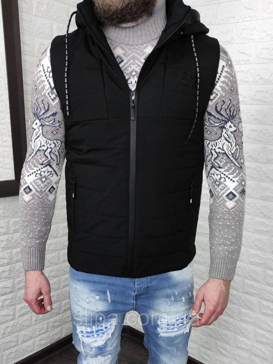 Мужская утеплённая жилетка Under Armour со съёмным капюшоном, чёрная