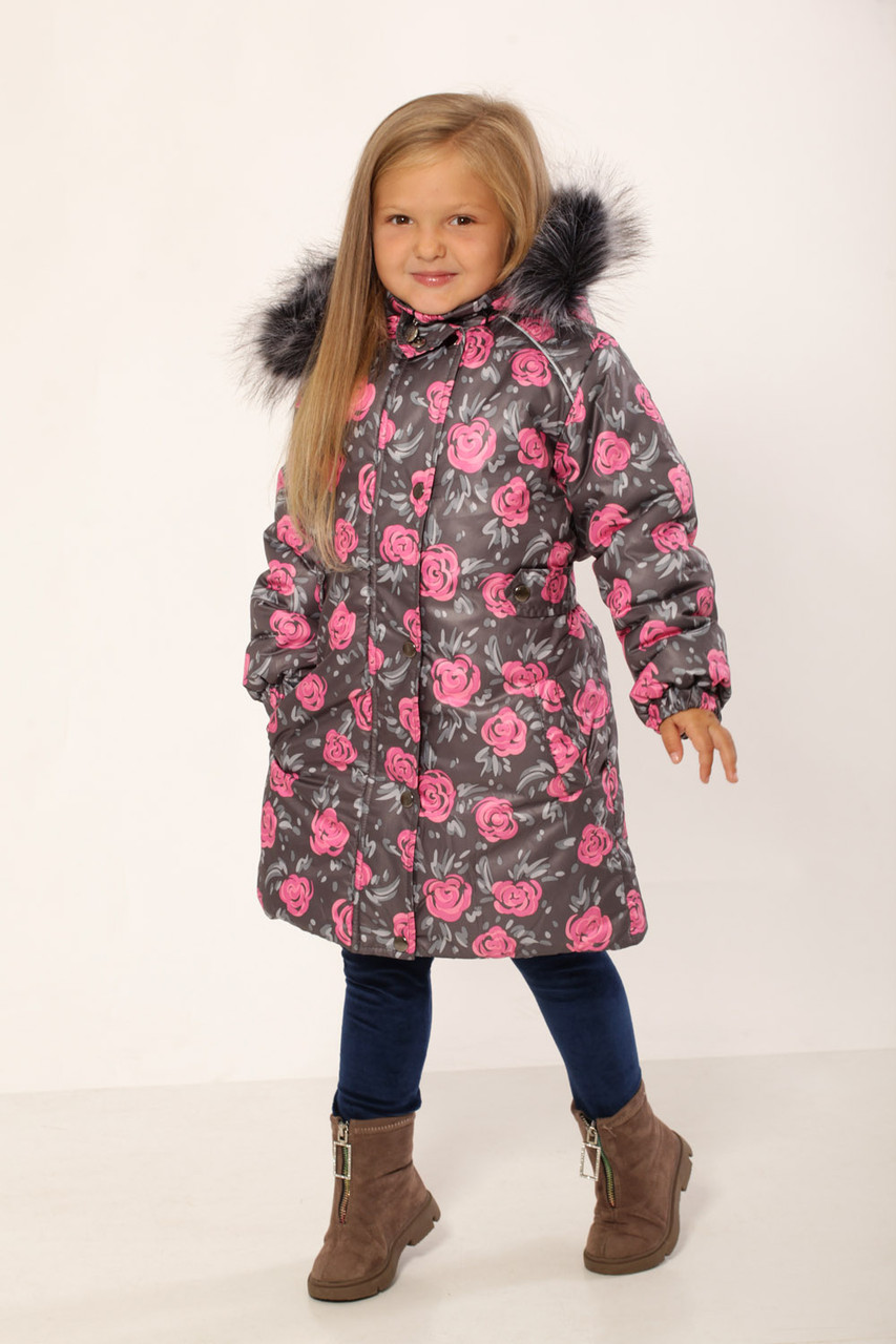 Пальто зимнее для девочки (принт розы) 110-134 см