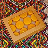 Подарочный набор круглых восковых чайных свечей 15г (12шт.) в Белой Коробке, фото 3