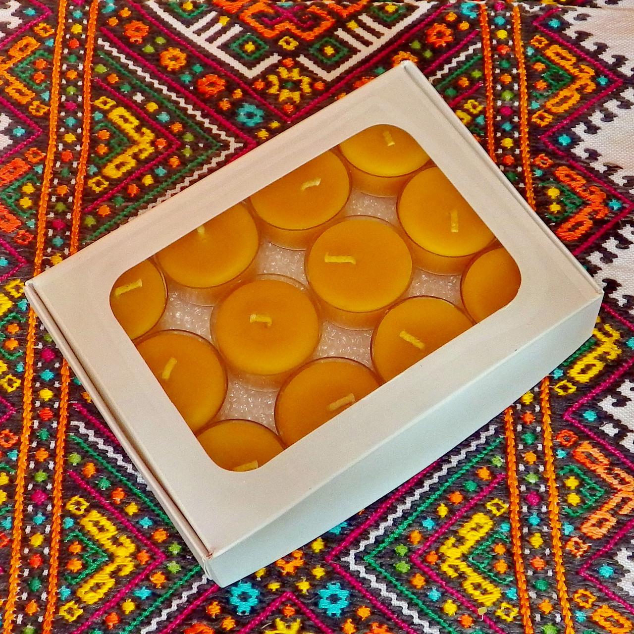 Подарочный набор круглых восковых чайных свечей 15г (12шт.) в Белой Коробке