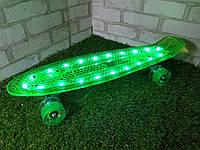 """Пенни борд """"Fish"""" Салатовый с LED подсветкой и светящимися колесами"""