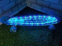 "Пенни борд ""Fish"" Голубой с LED подсветкой и светящимися колесами"