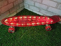 """Пенни борд """"Fish"""" Красный с LED подсветкой и светящимися колесами"""