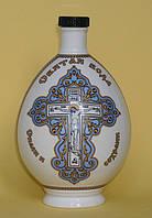 """Штоф для святой воды фарфор с распятием и молитвой """"Отче наш"""" 0,5л голубой коллекционный"""