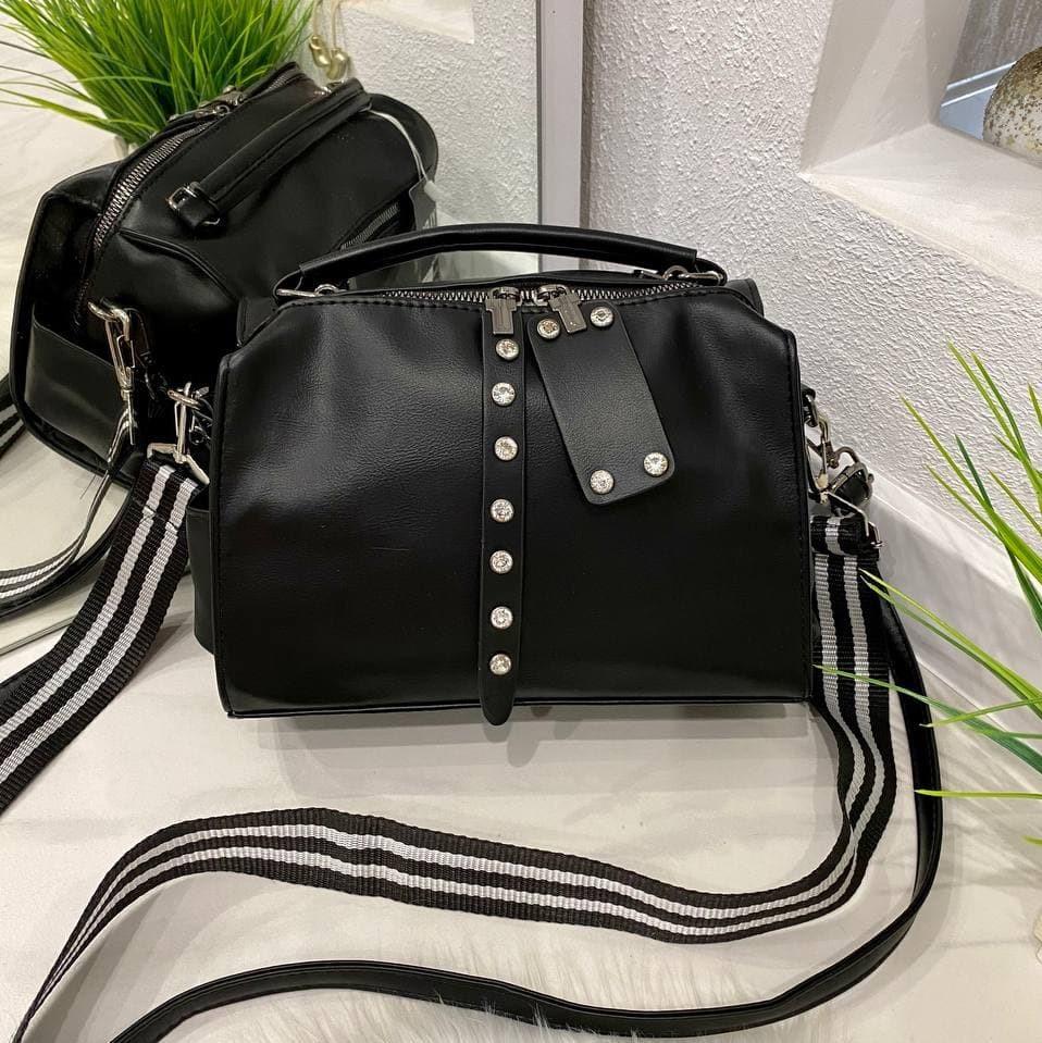 Женская сумка Flame с двумя ремешками черная СФД68