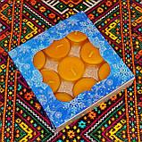 Подарочный набор круглых восковых чайных свечей 18г (9шт.) в коробке Бежевый Крафт, фото 3