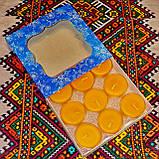 Подарочный набор круглых восковых чайных свечей 18г (9шт.) в коробке Бежевый Крафт, фото 4