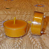 Подарочный набор круглых восковых чайных свечей 18г (9шт.) в коробке Бежевый Крафт, фото 7