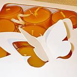 Подарочный набор круглых восковых чайных свечей 18г (9шт.) в коробке Белая Бабочка, фото 4