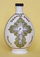 """Графин (бутылка) для святой воды фарфор с распятием и молитвой """"Отче наш"""" 0,5л зелёный"""